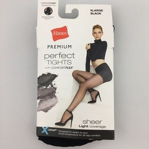 Hanes Premium Black Perfect Tights Sheer Coverage